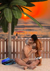 the sunset with a stranger in the back of the beach while mom is far.png